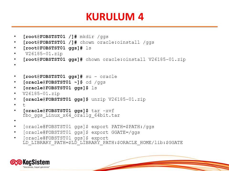 KURULUM 4 [root@FOBSTST01 /]# mkdir /ggs